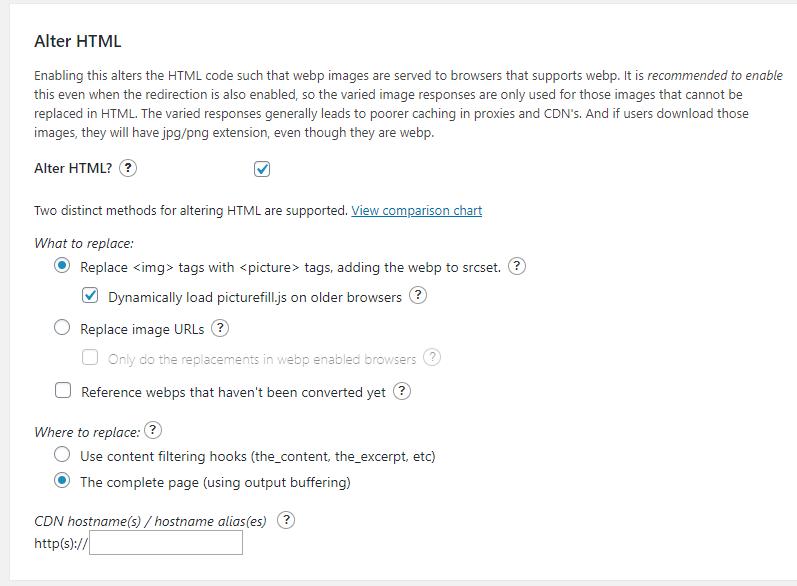 WebP Express - Rediger HTML