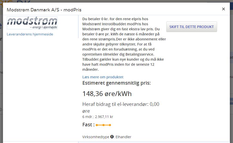 ElPris.dk - Elleverandør detaljer - Modstrøm
