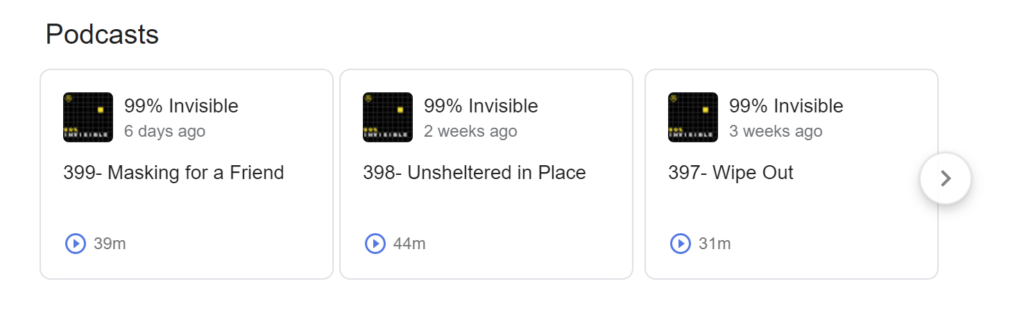 99 percent invisible podcast søgning