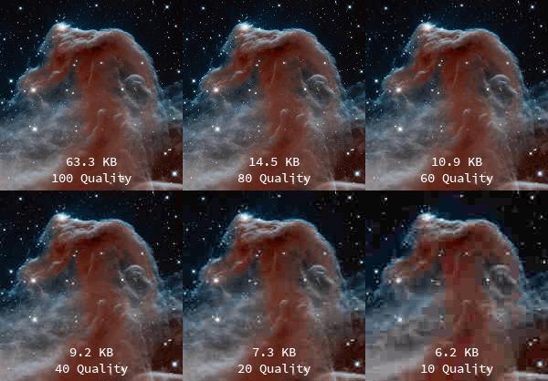 Eksempler på JPEG komprimering
